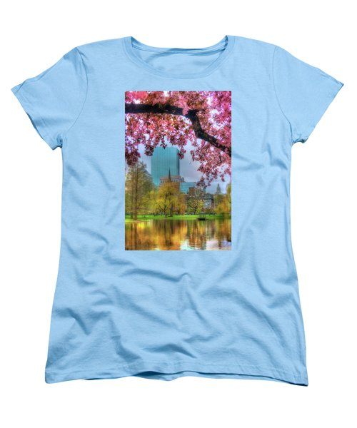 Women's T-Shirt (Standard Cut) featuring the photograph Cherry Blossoms Over Boston by Joann Vitali