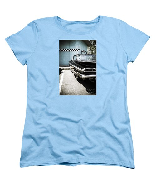 Chevrolet Impala In Front Of American Diner Women's T-Shirt (Standard Cut) by Perry Van Munster