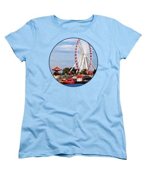 Chicago Il - Ferris Wheel At Navy Pier Women's T-Shirt (Standard Cut) by Susan Savad