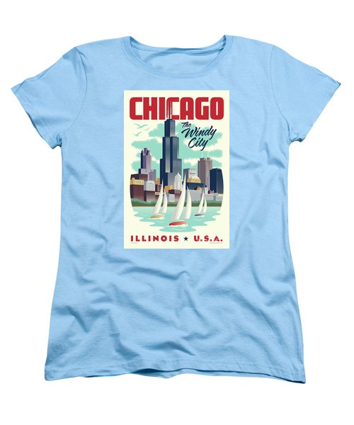 Chicago Retro Travel Poster Women's T-Shirt (Standard Cut) by Jim Zahniser