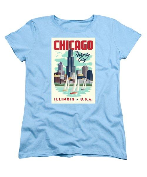 Chicago Retro Travel Poster Women's T-Shirt (Standard Cut) by Jim Zahniser