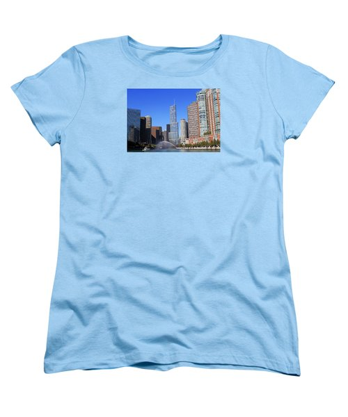 Women's T-Shirt (Standard Cut) featuring the photograph Chicago River by Milena Ilieva