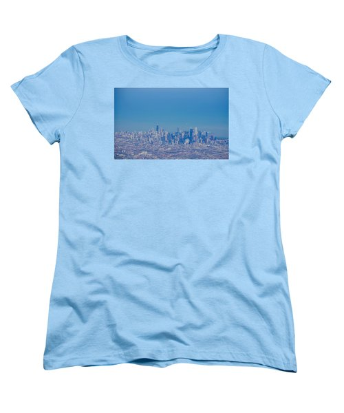 Chicago Skyline Aerial View Women's T-Shirt (Standard Cut) by Deborah Smolinske