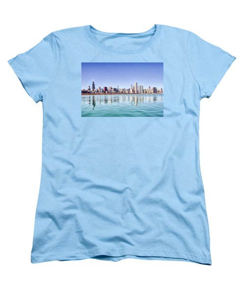 Women's T-Shirt (Standard Cut) featuring the photograph Chicago Skyline Reflecting In Lake Michigan by Peter Ciro