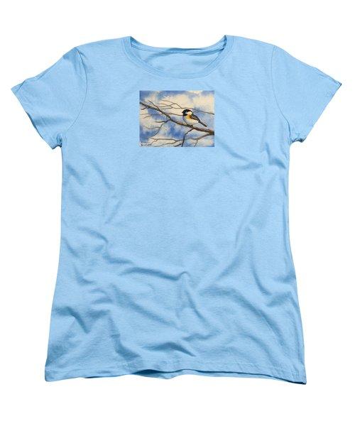 Chickadee On Branch Women's T-Shirt (Standard Cut) by Brenda Bonfield