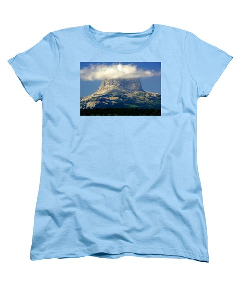 Chief Mountain, With Its Head In The Clouds Women's T-Shirt (Standard Cut)