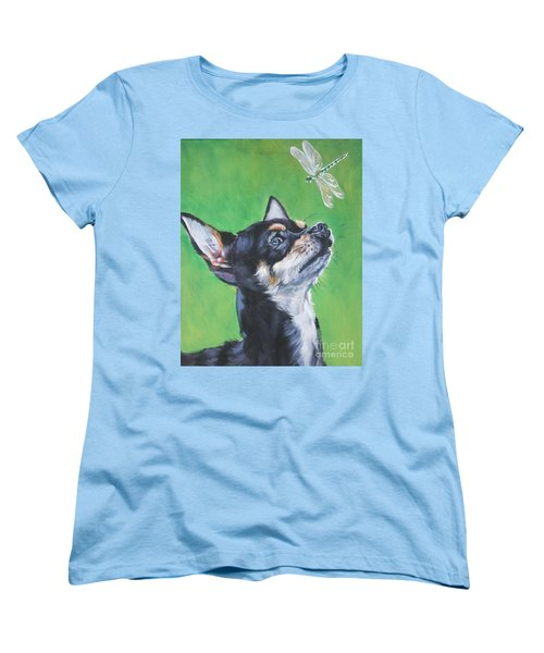 Chihuahua With Dragonfly Women's T-Shirt (Standard Cut) by Lee Ann Shepard