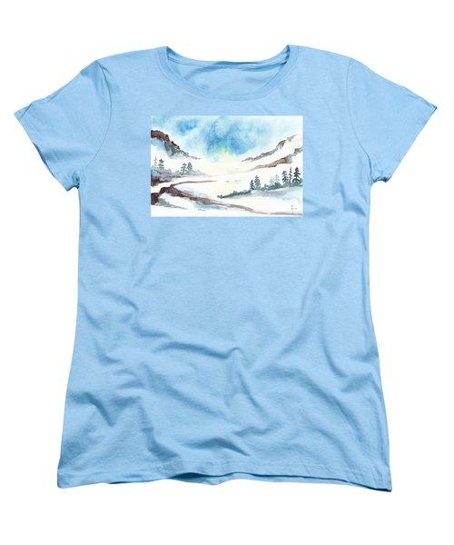 Children's Book Illustration Of Mountains Women's T-Shirt (Standard Cut)