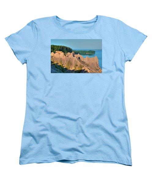 Chimney Bluffs 1750 Women's T-Shirt (Standard Cut) by Guy Whiteley