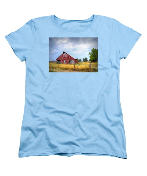 Christian School Road Barn Women's T-Shirt (Standard Cut) by Cricket Hackmann