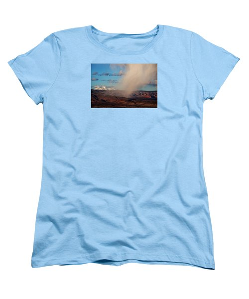Women's T-Shirt (Standard Cut) featuring the photograph Christmas Day Snow Mix San Francisco Peaks by Ron Chilston