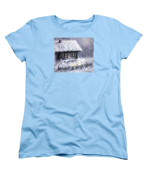 Women's T-Shirt (Standard Cut) featuring the painting Christmas Eve by Arturas Slapsys