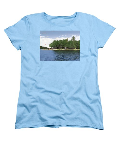 Women's T-Shirt (Standard Cut) featuring the painting Christmas Island Muskoka by Kenneth M Kirsch