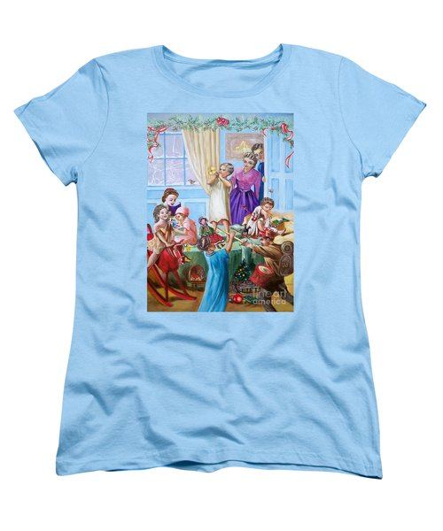 Women's T-Shirt (Standard Cut) featuring the painting Christmas Morning by Sigrid Tune