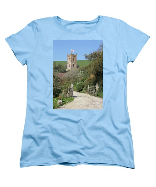 Women's T-Shirt (Standard Cut) featuring the photograph Church And The Flag by Linda Prewer
