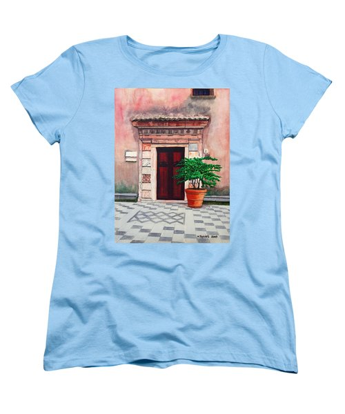 Church Side Door - Taormina Sicily Women's T-Shirt (Standard Cut) by Mike Robles
