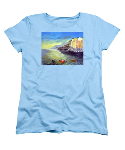 Women's T-Shirt (Standard Cut) featuring the painting Cinque Terre Dreams by Larry Cirigliano