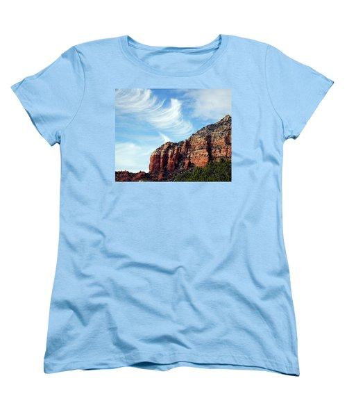 Women's T-Shirt (Standard Cut) featuring the photograph Cirrus Clouds Over The Mesa by Lynda Lehmann