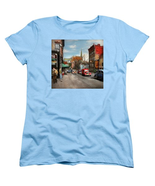 Women's T-Shirt (Standard Cut) featuring the photograph City - Amsterdam Ny - Downtown Amsterdam 1941 by Mike Savad