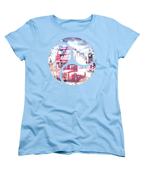 City-art London Red Buses On Westminster Bridge Women's T-Shirt (Standard Cut) by Melanie Viola