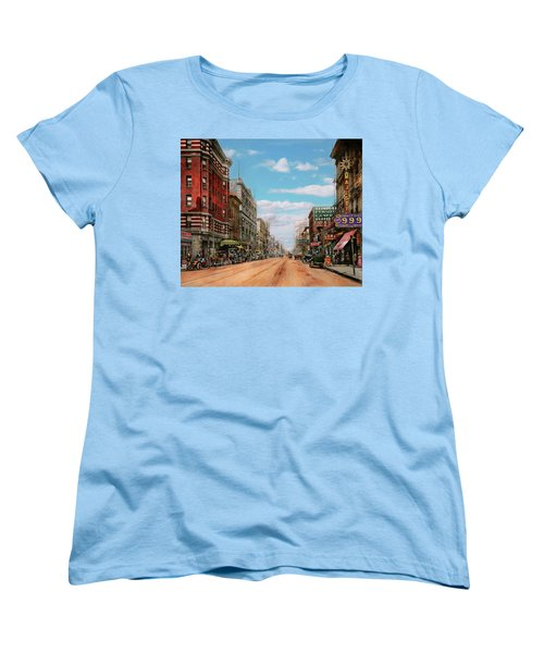 Women's T-Shirt (Standard Cut) featuring the photograph City - Memphis Tn - Main Street Mall 1909 by Mike Savad