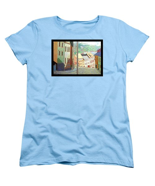Women's T-Shirt (Standard Cut) featuring the painting City Scape-dyptich by Walter Casaravilla