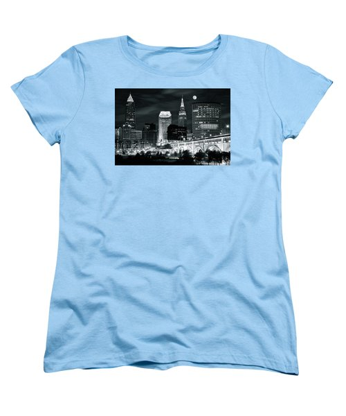 Cleveland Iconic Night Lights Women's T-Shirt (Standard Cut) by Frozen in Time Fine Art Photography