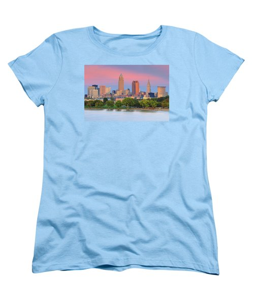 Women's T-Shirt (Standard Cut) featuring the photograph Cleveland Skyline 6 by Emmanuel Panagiotakis