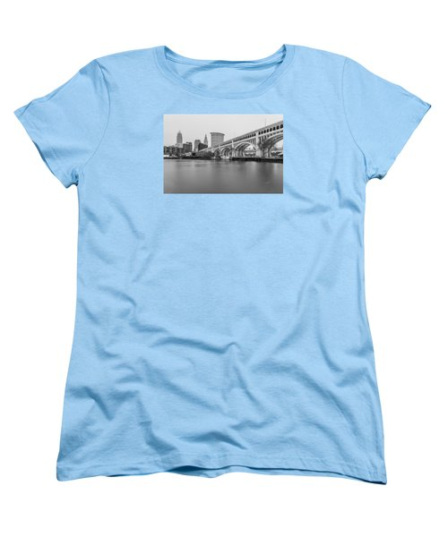 Cleveland Skyline In Black And White  Women's T-Shirt (Standard Cut)