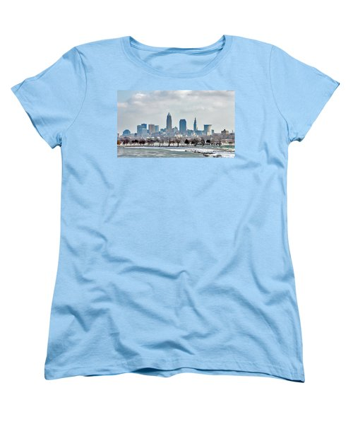 Cleveland Skyline In Winter Women's T-Shirt (Standard Cut) by Bruce Patrick Smith