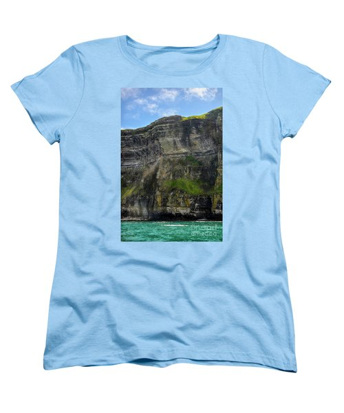 Women's T-Shirt (Standard Cut) featuring the photograph Cliffs Of Moher From The Sea Close Up by RicardMN Photography