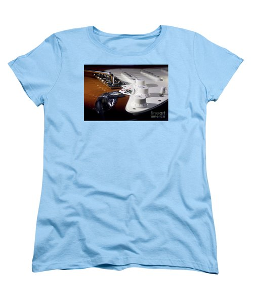 Women's T-Shirt (Standard Cut) featuring the photograph Close Up Guitar by MGL Meiklejohn Graphics Licensing