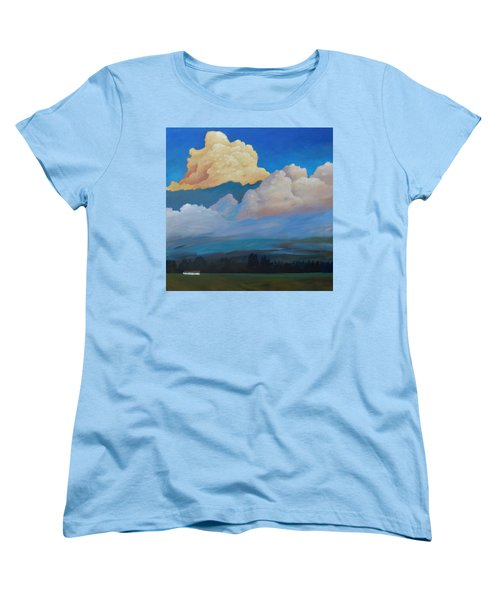 Women's T-Shirt (Standard Cut) featuring the painting Cloud On The Rise by Gary Coleman