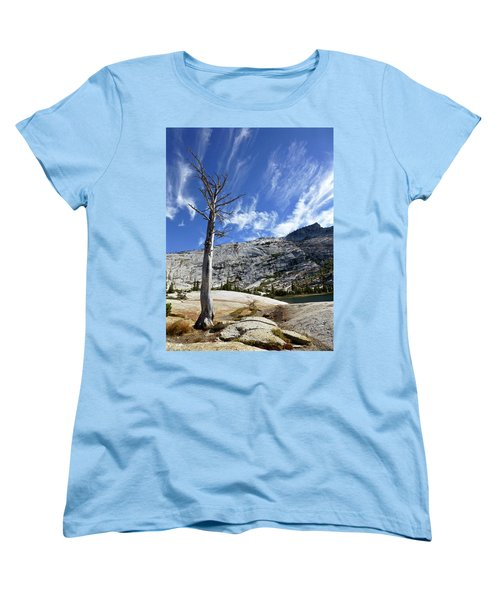 Cloud Stretch Lower Cathedral Lake Women's T-Shirt (Standard Cut) by Amelia Racca