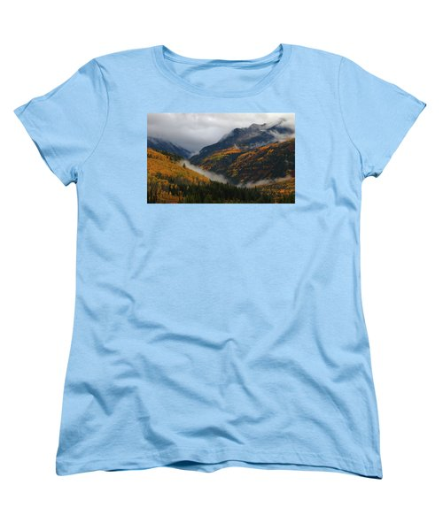 Clouds And Fog Encompass Autumn At Mcclure Pass In Colorado Women's T-Shirt (Standard Cut) by Jetson Nguyen