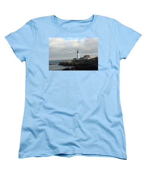 Clouds Over Portland Head Lighthouse 2 Women's T-Shirt (Standard Cut) by Lou Ford