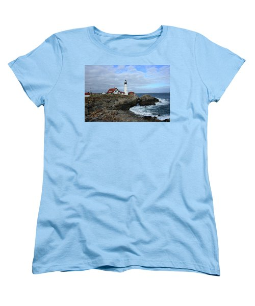 Clouds Over Portland Head Lighthouse Women's T-Shirt (Standard Cut) by Lou Ford