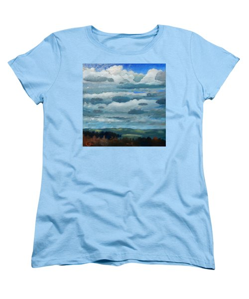 Women's T-Shirt (Standard Cut) featuring the painting Clouds Over South Bay by Gary Coleman