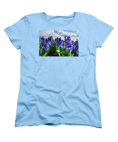 Clouds Over The Purple Hyacinth Field Women's T-Shirt (Standard Cut) by Mihaela Pater