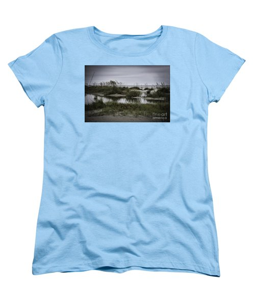 Women's T-Shirt (Standard Cut) featuring the photograph Cloudy Beach Day by Judy Wolinsky