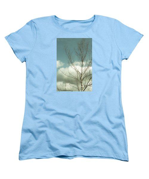 Women's T-Shirt (Standard Cut) featuring the photograph Cloudy Blue Sky Through Tree Top No 2 by Ben and Raisa Gertsberg