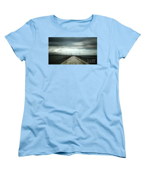 Women's T-Shirt (Standard Cut) featuring the photograph Cloudy Pier by Perry Webster