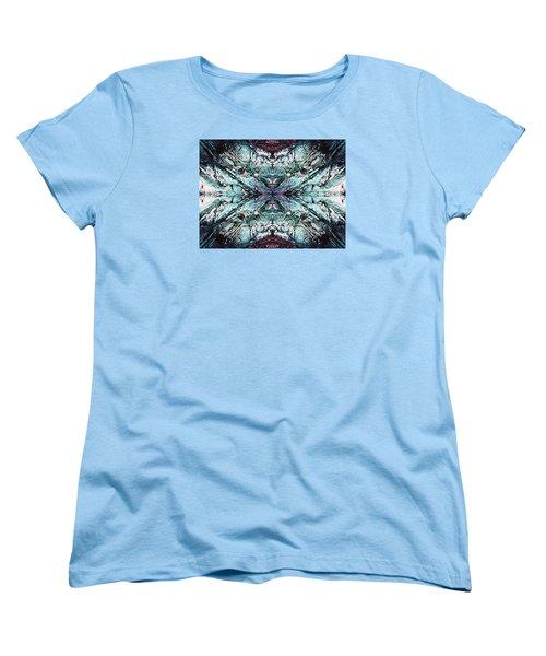 Coastal Rocks Brillig Turquoise Kaleidoscope Effect Women's T-Shirt (Standard Cut) by Joy Nichols