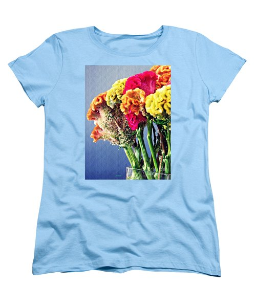 Women's T-Shirt (Standard Cut) featuring the photograph Cockscomb Bouquet 2 by Sarah Loft