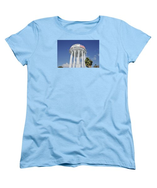 Women's T-Shirt (Standard Cut) featuring the photograph Cocoa Water Tower With American Flag by Bradford Martin