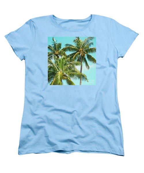 Women's T-Shirt (Standard Cut) featuring the photograph Coconut Palm Trees Sugar Beach Kihei Maui Hawaii by Sharon Mau