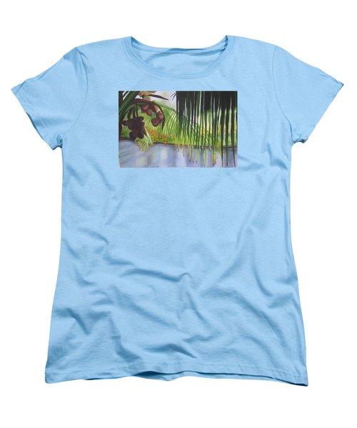 Coconut Tree Women's T-Shirt (Standard Cut) by Teresa Beyer