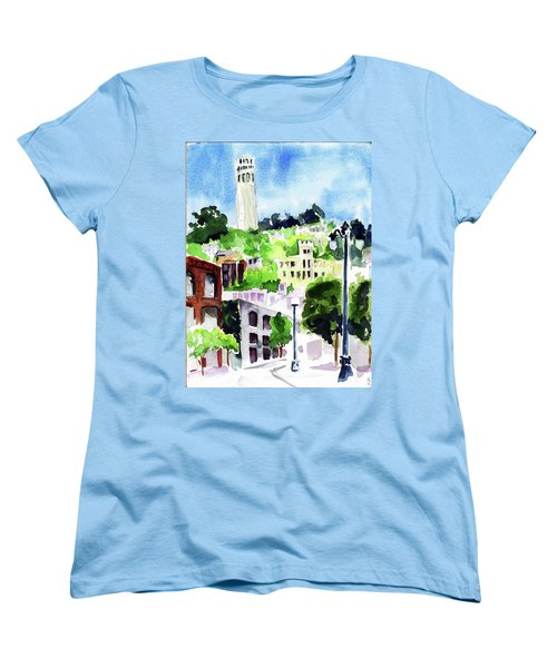 Coit Tower From The Embarcadero Women's T-Shirt (Standard Cut) by Tom Simmons