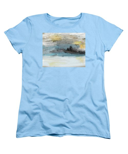 Cold Day Lakeside Abstract Landscape Women's T-Shirt (Standard Cut) by David Lane