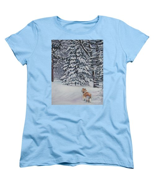 Collie Sable Christmas Tree Women's T-Shirt (Standard Cut) by Lee Ann Shepard